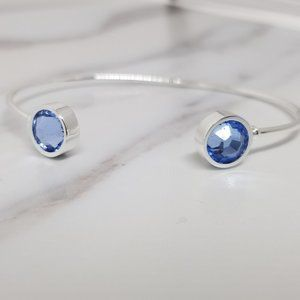 Cuff Bangle w/Round Faceted Light Sapphire Crystal